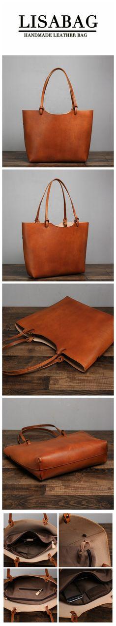 a6abb4d69899 Handmade Leather Designer Tote Handbag Shoulder Bag Beach Bag - Brown.  LISABAG