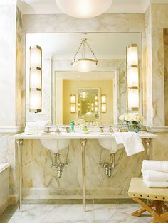 Might do double sinks with marble top like this.