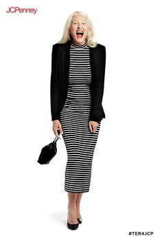 201b8c4f099 Make a bold statement in a black and white body-con striped dress from  Tracee Ellis Ross for JCPenney. This midi length dress is perfect for fall  and pairs ...
