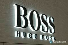 LED Side-lit Signs With Black Acrylic Front-panel For Hugo Boss Individual… Retail Signage, Wayfinding Signage, Signage Design, Entrance Signage, Exterior Signage, Backlit Signs, Led Signs, Metal Letter Signs, Sign Letters