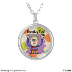 Bleeping Yea! Round Pendant Necklace #Art #Illustration #Kids #Necklace #Pendant