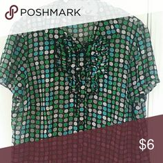 East5th sheer casual dress top polka dots WEEKEND FLASH SALE!!!!  CLEARING MY CLOSET!!! Polka dots galore! Dressy sheer blouse by East5th. Misses size L. In perfect like new condition. 100% polyester. Will bundle for savings! Clean, smoke free home! East 5th Tops Blouses