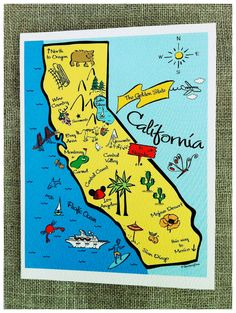 California State Map Full Color Note Card