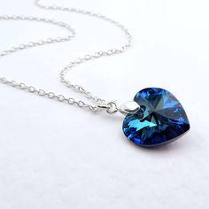 Bermuda Blue Necklace Swarovski Elements, Crystal Heart Necklace, Tiny Heart Pendant Dainty Necklace