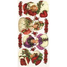 1 Sheet of Stickers Victorian Christmas Girls