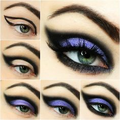 bruja halloween, etapas para conseguir mirada ahumada, lápiz negro y sombras en lila con máscara negra al final