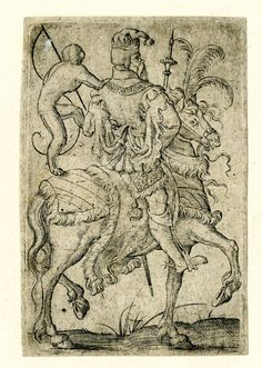 Playing-card, the king of monkeys -- Print made by Virgil Solis, c.1550