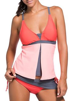 Color Block Spaghetti Strap Tankini Swimsuit With Skirted Swim Bottom