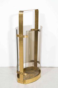 Max Ingrand; #2035A Brass and Glass Umbrella Stand for Fontana Arte, 1964.