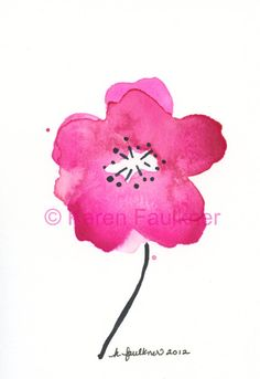 Cherry Blossom Pink original watercolor flower by karenfaulknerart, $20.00