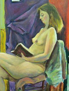 Η Αντιγόνη διαβάζει  / Antigone reading  λάδι σε καμβά / oil on canvas 35.0*45.0*1.0 cm