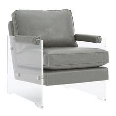 TOV Furniture Serena Grey Eco Leather/Lucite Chair