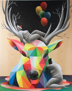 A new selection of the colorful street art creations of the Spanish artistOkuda, whowe already talked about in 2013 with The street art by Okuda. From India