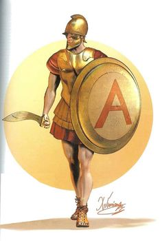 Athenian Hoplite (mid 4th century BC) - Thracian-Attic type helmet with large jaw protectors.   - Bronze muscle cuirass  - Hoplon type shield with Alpha (for Athens) - Slashing sword (kopis)  - Leather sandals    Drawing by C.Giannopoulos for Periskopio Editions