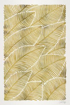gold sharpie on coffee cup and create a pattern like this or palm frond. Tropical Gold Art Print by Cat Coquillette Motif Tropical, Tropical Pattern, Tropical Leaves, Tropical Prints, Tropical Art, Textures Patterns, Fabric Patterns, Print Patterns, Gold Sharpie