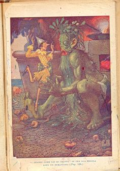 The Green Fisherman nets Pinocchio and wants to pan-fry him.