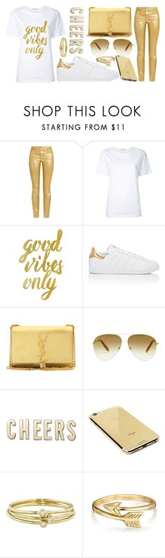 """""""we're golden"""" by gatelyhawkins ❤ liked on Polyvore featuring Étoile Isabel Marant, Astraet, WALL, adidas, Yves Saint Laurent, Victoria Beckham, Kate Spade, Goldgenie, Jennifer Meyer Jewelry and Bling Jewelry"""