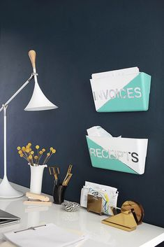 Craft some stylish storage boxes for your office wall