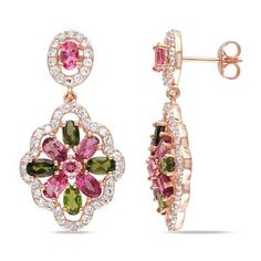 I've tagged a product on Zales: Pink and Green Tourmaline with Lab-Created White Sapphire Frame Drop Earrings in Rose Rhodium Plated Sterling Silver