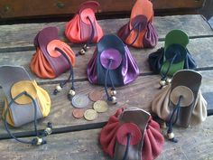 Handmade soft leather money pouches bags coin purses colourful christmas gifts wooden beads black wax string quality French leather useful save,love and buy ! Leather Art, Leather Gifts, Leather Pouch, Leather Jewelry, Leather Purses, Soft Leather, Handmade Leather, Diy Accessoires, Purses And Bags