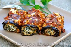 Grilled Eggplant Rolls with Spinach and Feta Cheese
