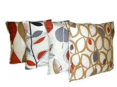 Set of 4 x Big Pillow Covers Red Brown Grey Designer Funky Retro Cushion Covers   Inners NOT included   4 of 22 x 22 (56cms approx)   100% Cotton, with a Cream Coloured Envelope Back   Pattern placement may vary from the photo and no two are alike, adding to their handcrafted uniqueness   Machine washable at 40 deg ,   Hot steam Iron-   Flat to dry is recommended   From Left to Right: Alderley, Autumn Leaves, Maple, Cedar    I ship worldwide, please see my Policies to determine shipping…