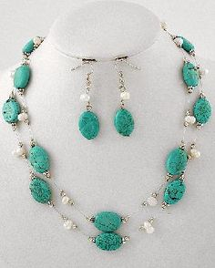 Turquoise & White Fresh Water Pearl Necklace & Earrings set * FREE SHIPPING *