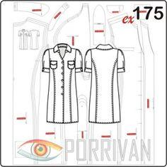 Выкройка платья рубашки подходит для хлопковых и льняных тканей с эластаном. У платья отложной воротник со стойкой, рукава фонарик с манжетами, подборта и