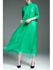 Flowy Swing Cheongsam Dress - Green 2xl