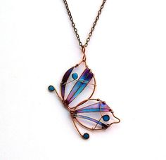 ***Free worldwide registered shipping***  Copper butterfly long necklace is made with copper wire and painted with colors of turquoise and purple, which I poured into resin. It is attached to a copper chain. Fresh and antique at the same time, you could fit it with a monochrome oversized blouse, especially in neutral colors like white, gray, beige.  This item is MADE TO ORDER, so please wait 6-7 business days to be made and shipped. Please note that due to the handmade nature of this product…