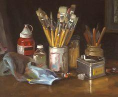 Jean-Christophe Gondouin, Le matériel du peintre, huile sur toile 65x54cm