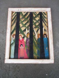 Spruces  Hand Painted Colorful Rustic Picture On Old by Popielnik, $365.00