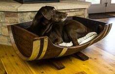 Wine Barrel Dog Bed Rustic Dog Bed Large by RockCreekFurnitureCo