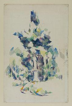 Statue under Trees, 1895-1900.  Paul Cezanne