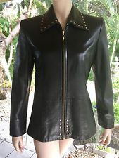 St John Coat Collection Lambskin & Gold Studded BLACK LEATHER JACKET Small