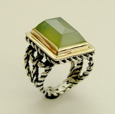 Sterling silver and gold statement gemstone Victorian ring with green quartz - Next to you.