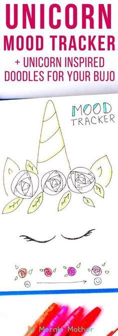 Unicorn mood tracker and unicorn bullet journal doodle #unicorn #moodtracker #bujo #bulletjournal