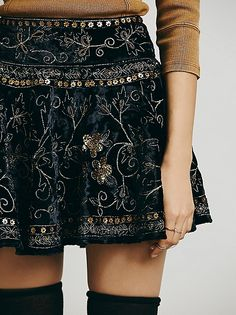 Free People: Black velvet with gold details