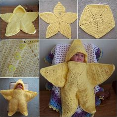 Crochet Baby Blanket Crochet Star Hooded Baby Blanket Free Pattern - This Baby Star Wrap Blanket makes a beautiful gift and it's a very simple project that's perfect for a newborn. Check out the Baby Envelope too! Crochet Baby Cocoon, Baby Blanket Crochet, Crocheted Blankets, Star Baby Blanket, Hooded Blanket, Crochet Pillow, Crochet Gratis, Free Crochet, Diy Manta