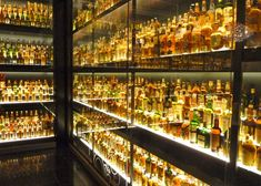 A small sampling of the world's largest whisky collection, 3,500 individual bottles, on display at The Whisky Experience in Edinburgh, Scotland.