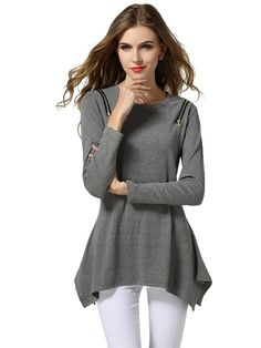 Plus Size Zippers Long Sleeve Cotton T-Shirt