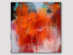 Original Kunst abstrakt große texturierte orange von ARTbyKirsten