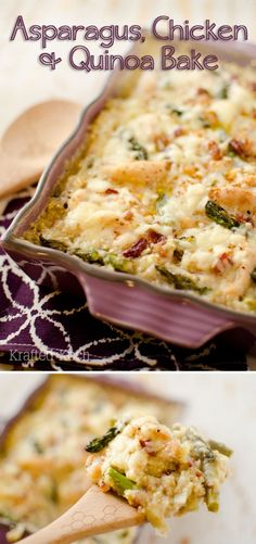 Asparagus, Chicken & Quinoa Bake is a light and healthy dinner recipe loaded with protein packed quinoa, white cheddar, crisp bacon and fresh asparagus! #Quinoa #Healthy #DinnerIdea #Light #Casserole #Hearty