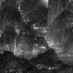 """""""Chinese artist Yang Yongliang is known for his sprawling photographic collages that depict the devastating effects of uncontrolled urbanisation and industrialisation. At a distance the works look like traditional Chinese painting and calligraphy but when viewed up close, the peaceful mountains and seascapes are found to be choked with buildings, factories, and machinery."""""""