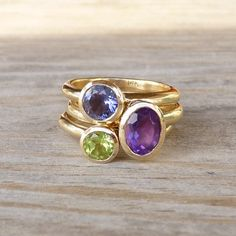14k Gold Stacking Ring Set, Recycled Gold and Iolite, Peridot, Amethyst Ring, Made To Order