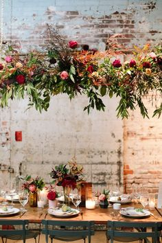 wedding table Gorgeous and lush Millwick Wedding Reception in DTLA with wild hanging flower installations and table design. Burgundy and pink flowers. Hanging Flowers Wedding, Wedding Reception Flowers, Wedding Flower Arrangements, Wedding Reception Decorations, Floral Wedding, Hanging Flower Arrangements, Wild Flower Wedding, Wedding Reception Design, Wedding Flower Design