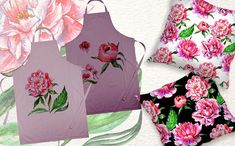 Lovely Pink Peony PNG Watercolor Set Illustration #Illustration #Peony #Pink #Lovely