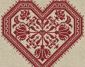 From Modern Folk on Etsy.  Love!  The Flowering Heart - Cross-Stitch Pattern 4 page PDF booklet
