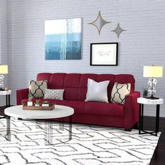 Baja Convert-a-Couch Sofa Sleeper Bed Dark Espresso Legs (Crimson Red)