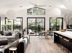 Black Window Frames, Black Windows, Large Windows, Timber Windows, House Windows, Fully Tiled Bathroom, Timber Vanity, Built In Robes, Barn Style Doors